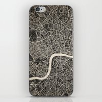 london map iPhone & iPod Skins featuring London map by NJ-Illustrations