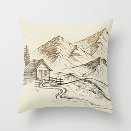 Vector of Mountain Landscape Throw Pillow