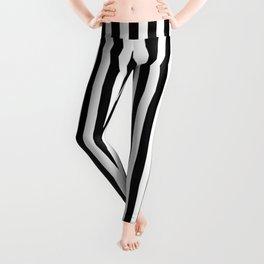 Midnight Black and White Vertical Deck Chair Stripes Leggings