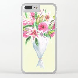 Pink Floral Selection Clear iPhone Case