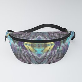 psychedelic geometric symmetry abstract pattern in purple blue yellow Fanny Pack