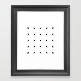 Black X on White Framed Art Print