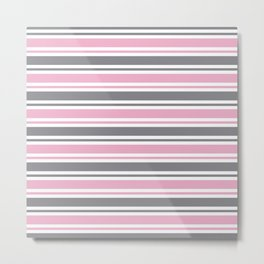 Pastel Pink & Gray & White Stripe Pattern Metal Print