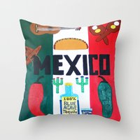mexico Throw Pillows featuring Mexico by Jake Hollywood