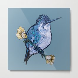 L'il Lard Butt Bee Hummingbird on Mallow flower Metal Print