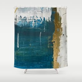 Rain [3]: a minimal, abstract mixed-media piece in blues, white, and gold by Alyssa Hamilton Art Shower Curtain
