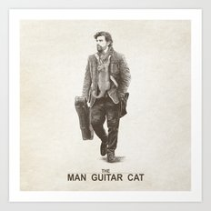 The Man Guitar Cat Art Print