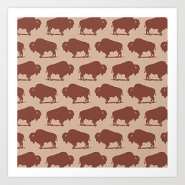 Buffalo Bison Pattern Brown and Beige Art Print