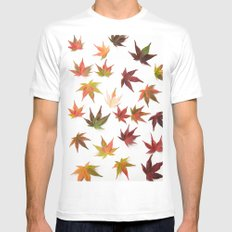AUTUMN LEAVES PATTERN #1 #decor #art #society6 Mens Fitted Tee White MEDIUM