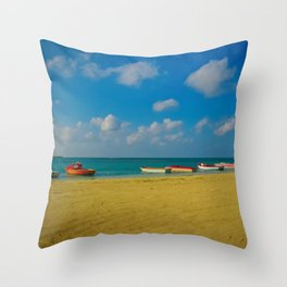 Colorful Boats Adorn the Tranquil Beach Throw Pillow