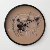 polar bear Wall Clocks featuring Polar Bear by Ursula Rodgers
