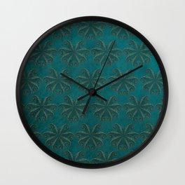 Petrol Octopus - Sea Life Print, Green Sea, Gold Detail, Pattern, Animal Print Wall Clock
