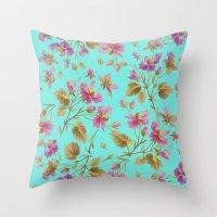 aelwen Throw Pillows featuring beach roses mint by Ariadne