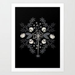 Halloween Damask Floral Art Print