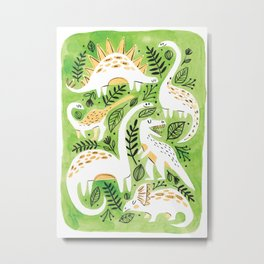 Dinosaur Forest Metal Print