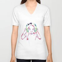 headphones V-neck T-shirts featuring headphones by Heavy Rotation