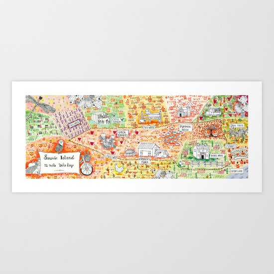 Sauvie Island Bike Loop Map Art Print