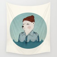 murray Wall Tapestries featuring Bill Murray - Life Aquatic - round by Drivis