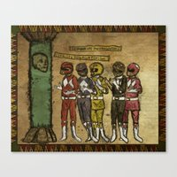 power rangers Canvas Prints featuring Power Rangers Medieval by Pierce Skinner