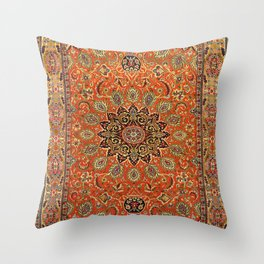 Central Persia Qum Old Century Authentic Colorful Orange Yellow Green Vintage Patterns Throw Pillow