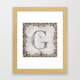 Neutral Monogram G Framed Art Print