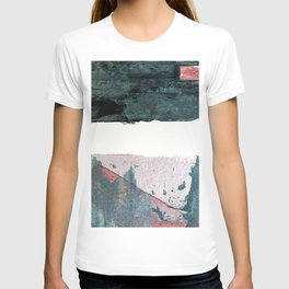 Between Us: a minimal, abstract mixed-media piece in blues, muted purple, and pinks T-shirt