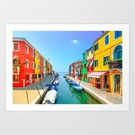 Venice landmark, Burano island canal, colorful houses and boats, Italy Art Print