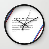 law Wall Clocks featuring Tucker's Law by brilliantbutton