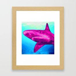 Painted Pink Shark Framed Art Print