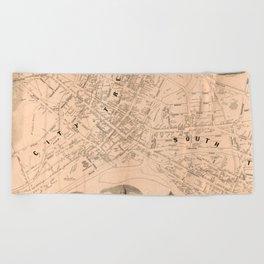 Vintage Map of Trenton NJ (1849) Beach Towel