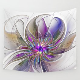 Energetic, Abstract And Colorful Fractal Art Flower Wall Tapestry