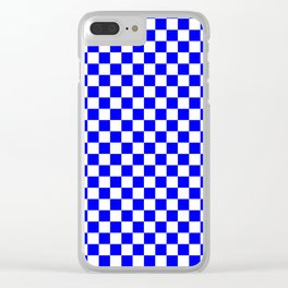 Small Checkered - White and Blue Clear iPhone Case