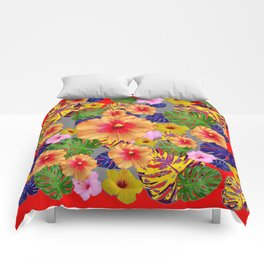 TROPICAL FLOWERS & LEAVES RED ART Comforters