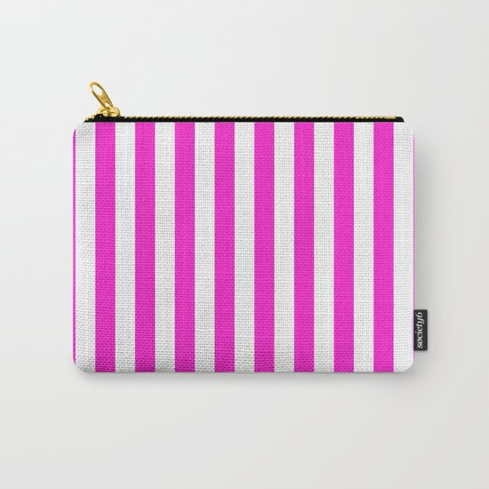 Vertical Stripes (Hot Magenta/White) Carry-All Pouch