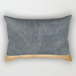 Slate Gray Stucco w Shiny Copper Metallic Trim - Faux Finishes - Rustic Glam - Corbin Henry Rectangular Pillow