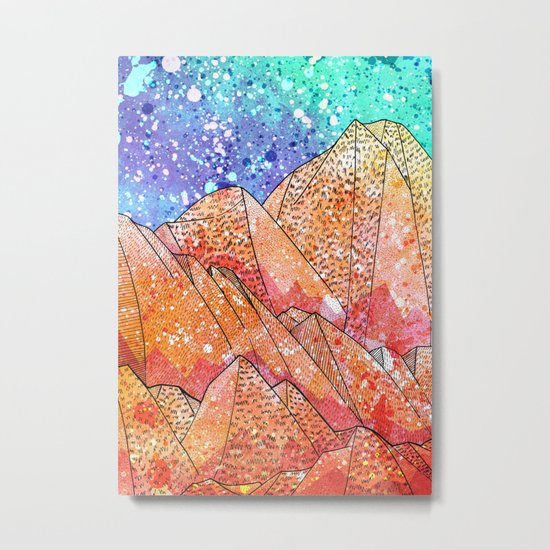 Paint Splatter Mountains Metal Print