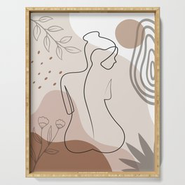 Set of naked woman sitting back one line. Poster cover. Minimal woman body. One line drawing. No 2/3 Serving Tray