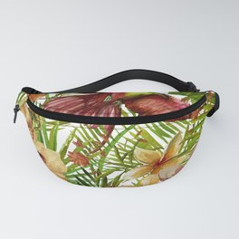 Aloha - Tropical Jungle Bird, Butterfly and Flowers Garden Fanny Pack