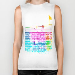 brick building with colorful painting abstract in pink blue yellow green red Biker Tank