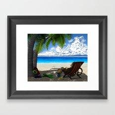 Monkey on the Beach Framed Art Print