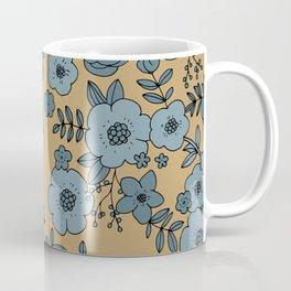 Romantic English Botanical flower Garden cinnamon blue Coffee Mug