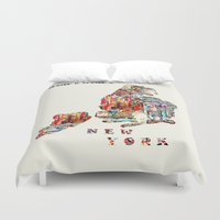 new york map Duvet Covers featuring new york map  by bri.buckley