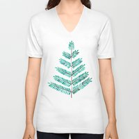turquoise V-neck T-shirts featuring Turquoise Leaflets by Cat Coquillette