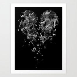 smoke broken heart Art Print