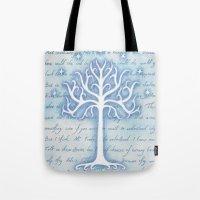 gondor Tote Bags featuring Tree of Gondor by JadeJonesArt