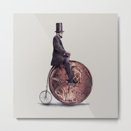 Penny Farthing (grey option) Metal Print