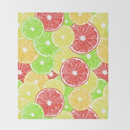 Lemon, orange, grapefruit and lime slices pattern design Throw Blanket