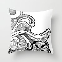 zentangle Throw Pillows featuring zentangle by Pinkspoisons