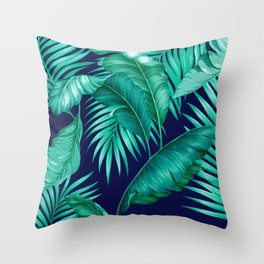 HAWAIIAN GARDEN TROPICAL LEAVES   turquoise navy Throw Pillow