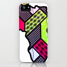 Pink and Green Africa Map iPhone Case